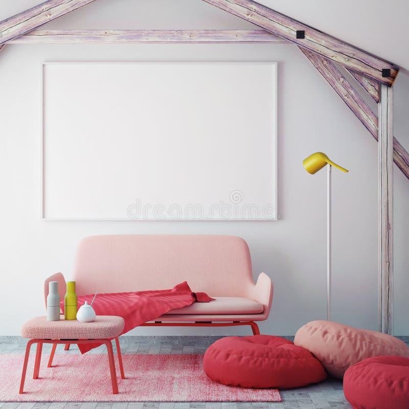 Verspotten Sie herauf leeres Plakat auf der Wand des Hippie-Wohnzimmers, Wiedergabe 3D lizenzfreie abbildung