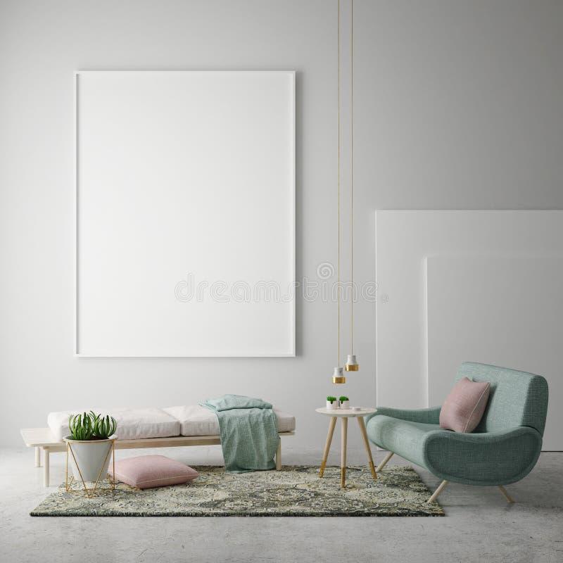 Verspotten Sie herauf leeres Plakat auf der Wand des Hippie-Wohnzimmers, Wiedergabe 3D, lizenzfreie abbildung
