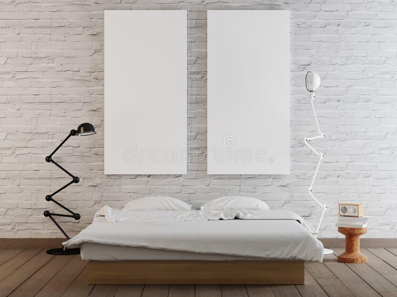 Verspotten Sie herauf leeres Plakat auf der Wand des Schlafzimmerhintergrundes lizenzfreie abbildung