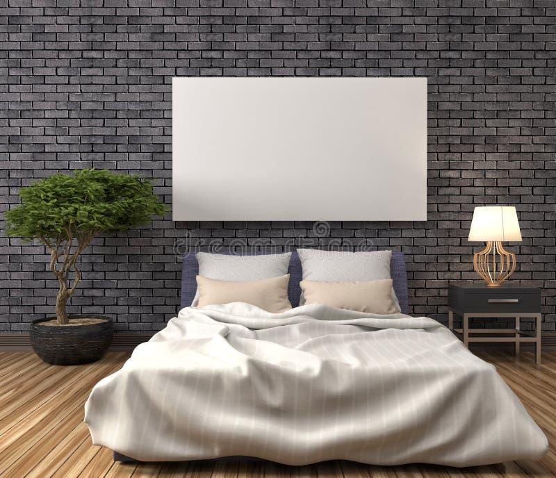 Verspotten Sie herauf leeres Plakat auf der Wand des Schlafzimmers Abbildung 3D stock abbildung