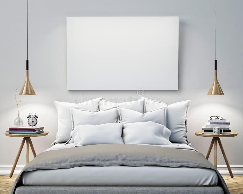 Verspotten Sie herauf leeres Plakat auf der Wand des Schlafzimmers, Hintergrund der Illustration 3D stock abbildung