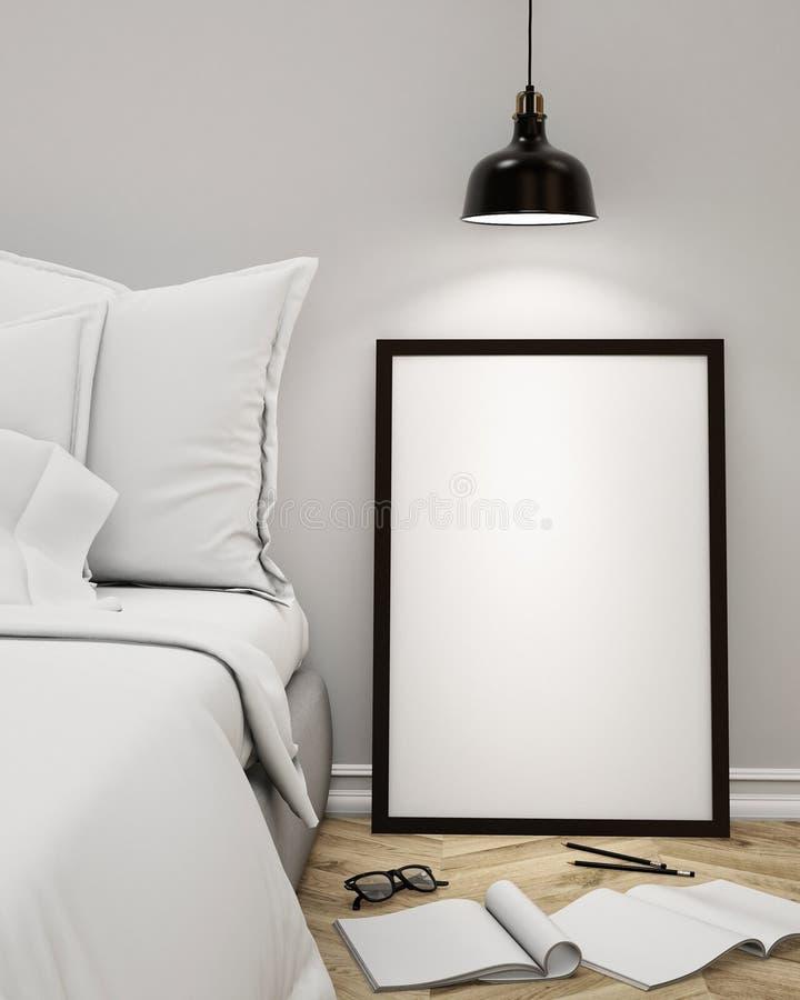 Verspotten Sie herauf leeres Plakat auf der Wand des Schlafzimmers, Hintergrund der Illustration 3D