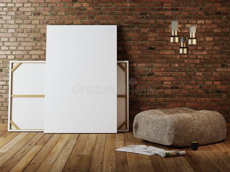 Verspotten Sie herauf leeres Plakat auf der Wand des Weinlesewohnzimmers lizenzfreie abbildung