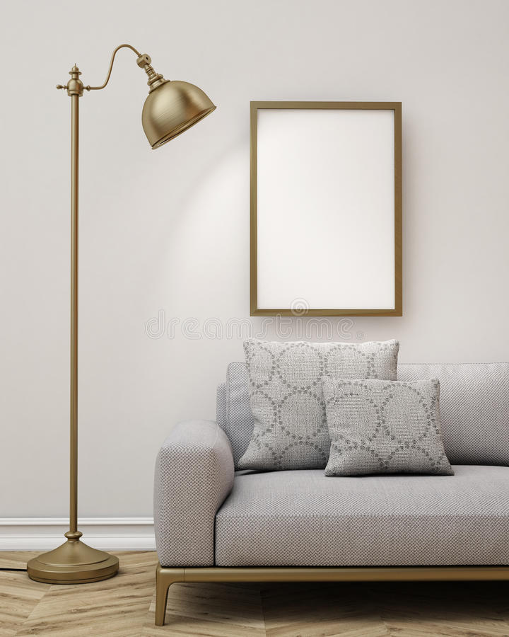 Verspotten Sie herauf leeres Plakat auf der Wand des Wohnzimmers, Hintergrund