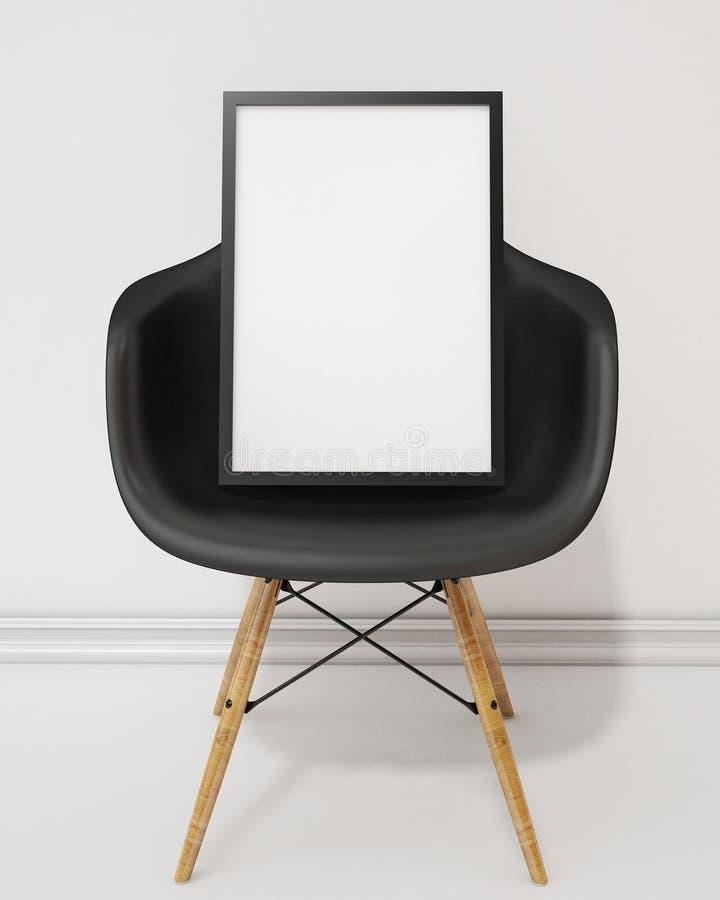 Verspotten Sie herauf leeres Plakat mit schwarzem Rahmen auf dem schwarzen Stuhl, Hintergrund stock abbildung