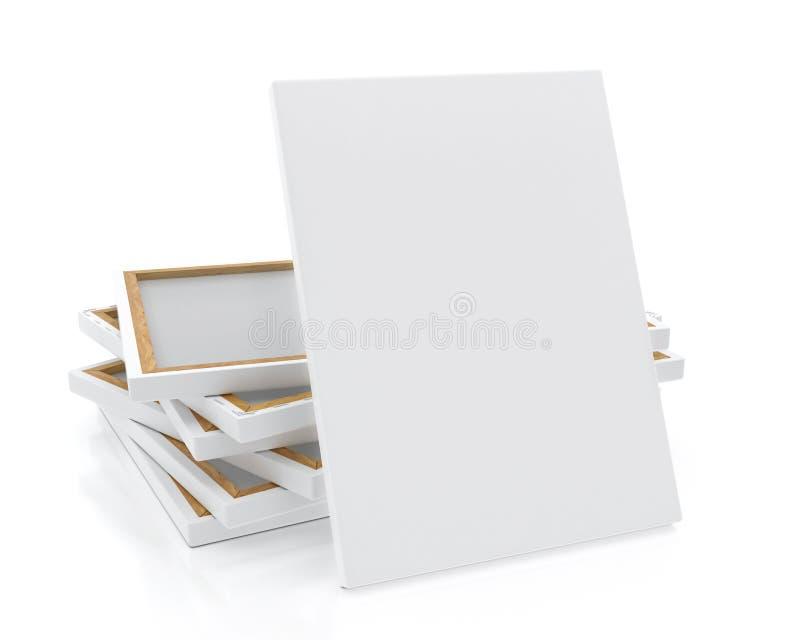 Verspotten Sie herauf leeres Segeltuch oder Plakat mit Stapel des Segeltuches auf Boden und Wand, Hintergrund stock abbildung