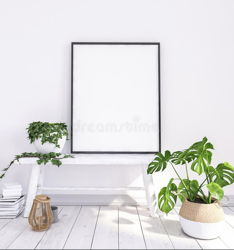 Verspotten Sie herauf Plakat auf alter Bank mit Blumen und Körben lizenzfreie stockfotos