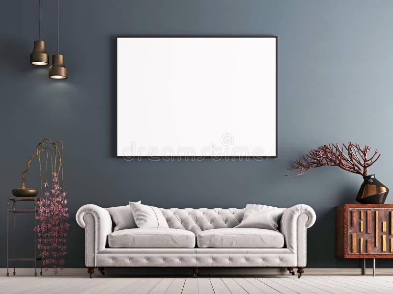 Verspotten Sie herauf Plakat auf grauer Wand in der klassischen Innenart mit weißem Sofa und Dekor lizenzfreie abbildung