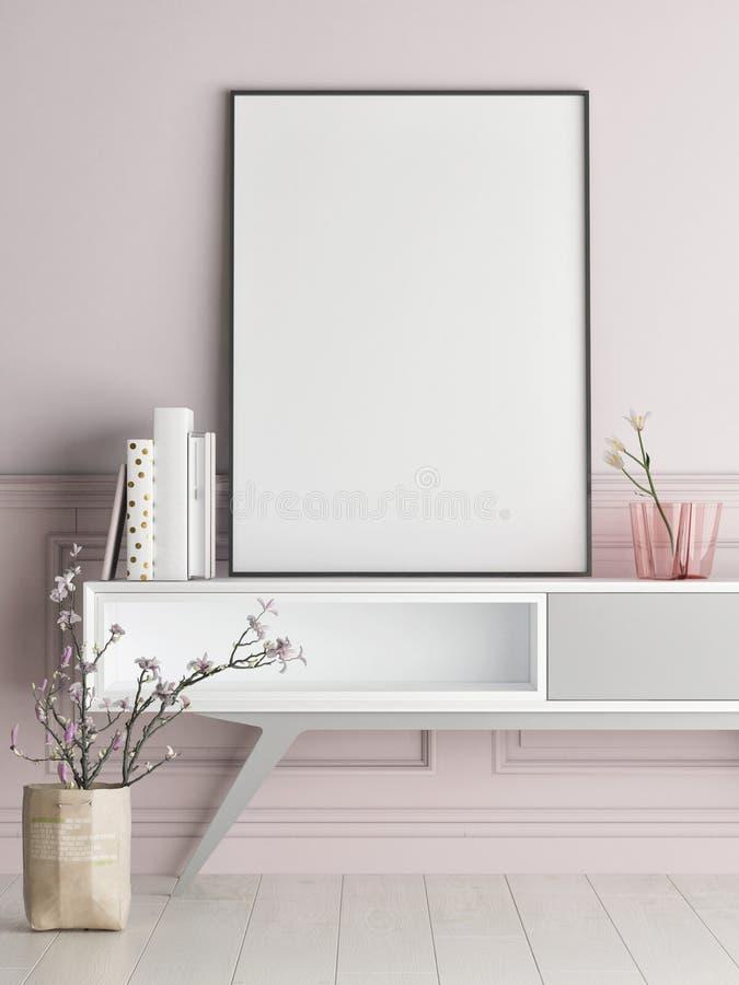 Verspotten Sie herauf Plakat auf rosafarbener Wand, Hippie-Hintergrund stock abbildung