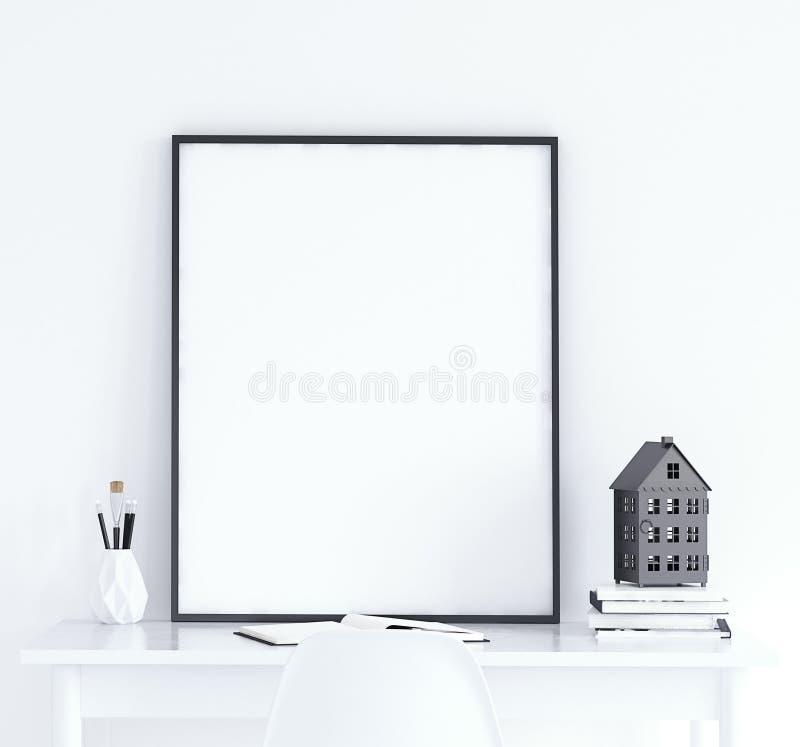 Verspotten Sie herauf Plakat auf Tabelle, skandinavische Art lizenzfreie stockbilder