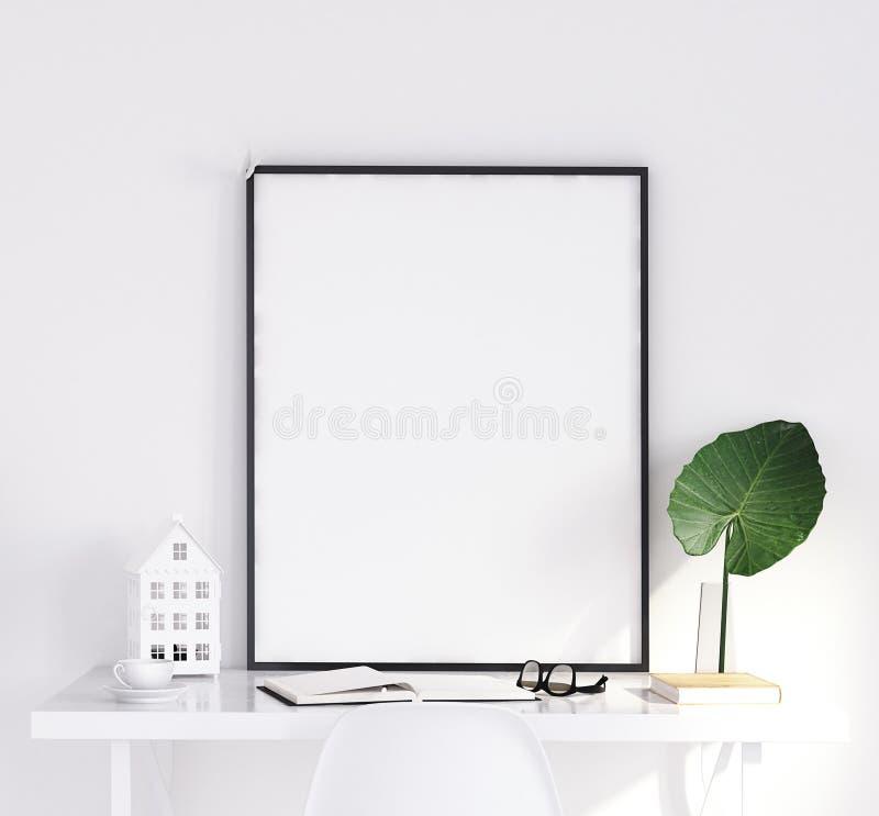 Verspotten Sie herauf Plakat auf Tabelle, skandinavische Art lizenzfreies stockbild