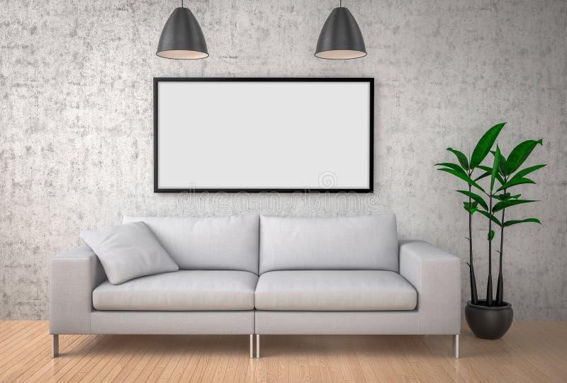 Verspotten Sie herauf Plakat, großes Sofa, Betonmauerhintergrund, illustrat 3d vektor abbildung