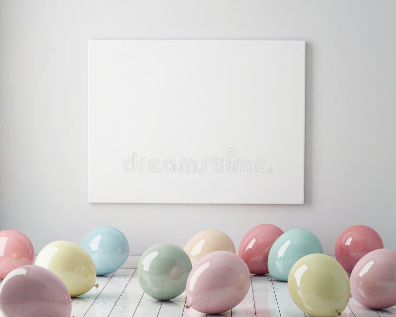 Verspotten Sie herauf Plakat im Innenhintergrund mit bunten Pastellballonen auf dem Boden, 3D übertragen stock abbildung