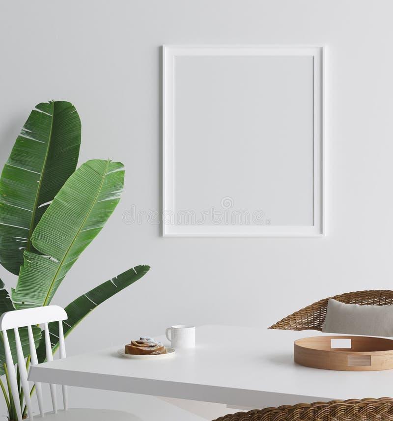 Verspotten Sie herauf Plakat im Innenhintergrund, skandinavische Art stock abbildung