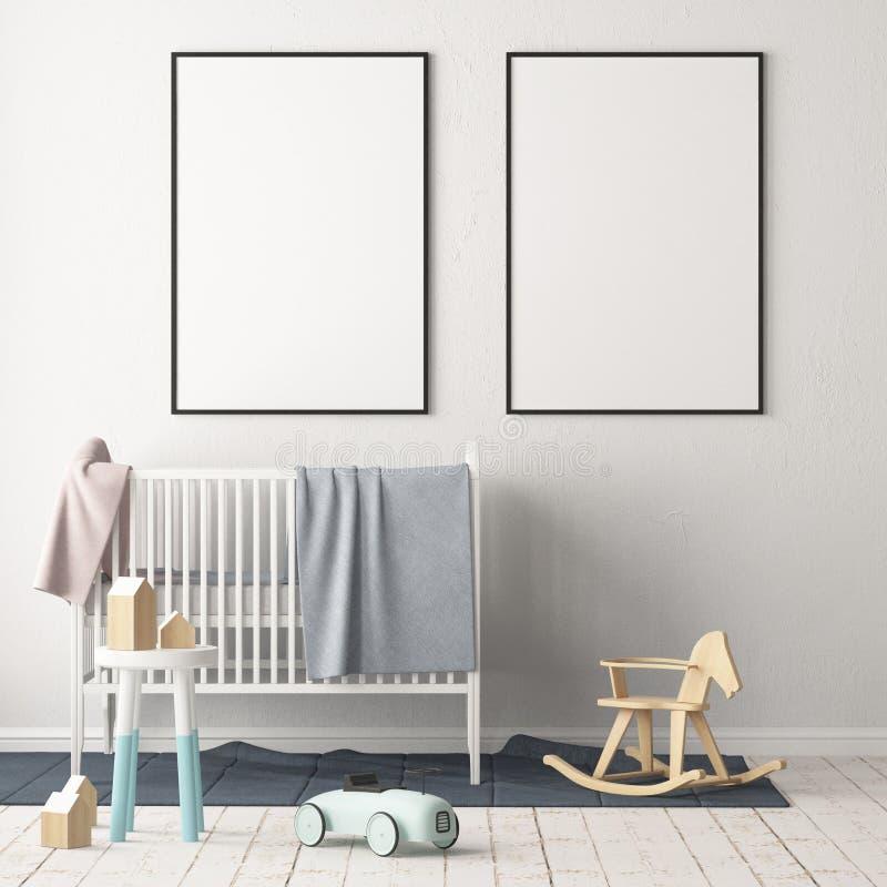 Verspotten Sie herauf Plakat im Kind-` s Raum Kind-` s Raum in der skandinavischen Art Abbildung 3D vektor abbildung