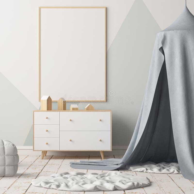 Verspotten Sie herauf Plakat im Kind-` s Schlafzimmer mit einer Überdachung Skandinavische Art 3d vektor abbildung