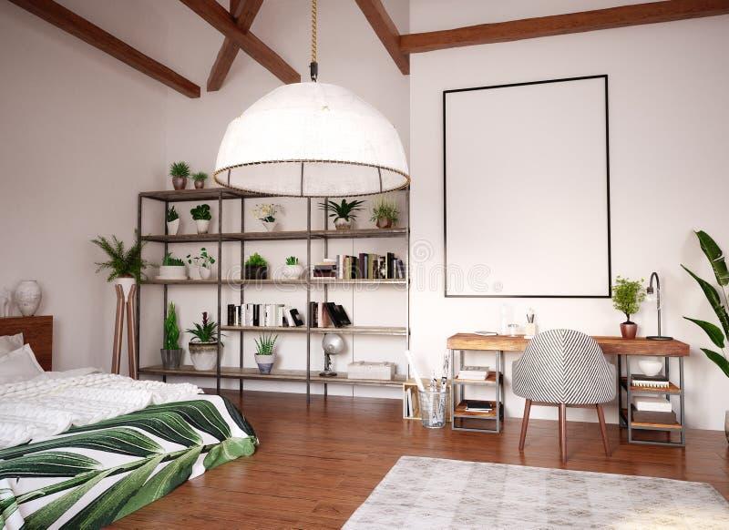 Verspotten Sie herauf Plakat im modernen hellen Innenraum des offenen Raumes im Dachboden stockbilder