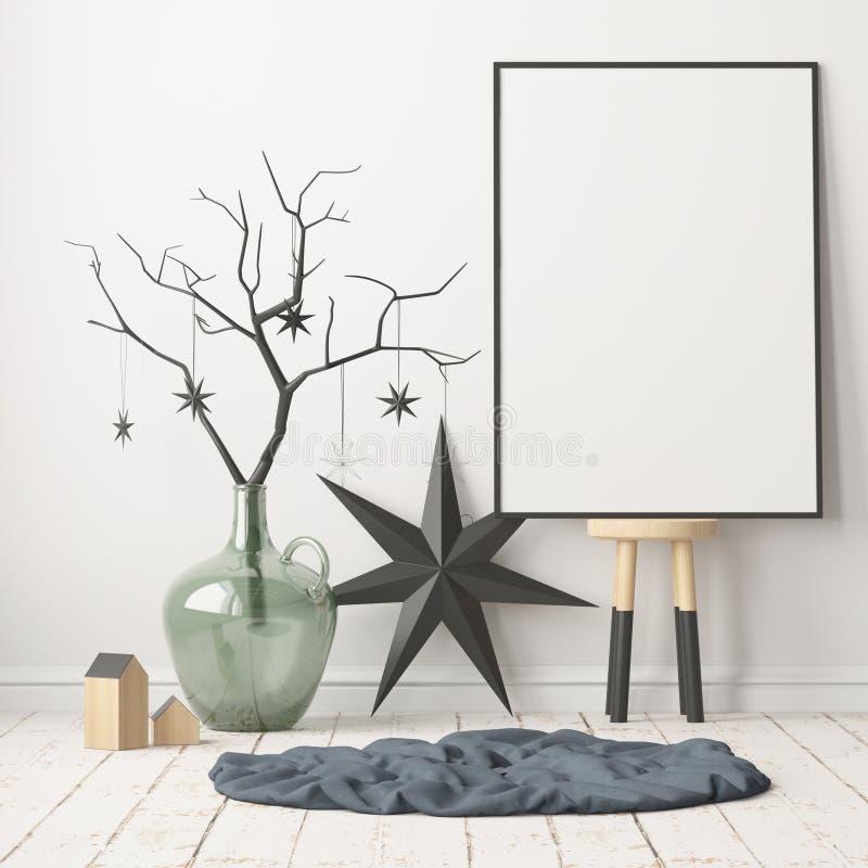 Verspotten Sie herauf Plakat im Weihnachtsinnenraum in der skandinavischen Art Wiedergabe 3d stock abbildung