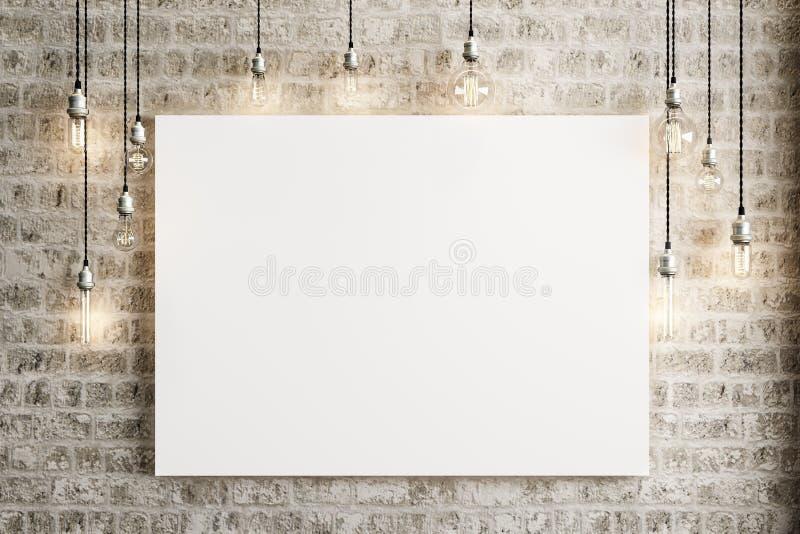 Verspotten Sie herauf Plakat mit Deckenleuchten und einem rustikalen Ziegelsteinhintergrund lizenzfreie abbildung