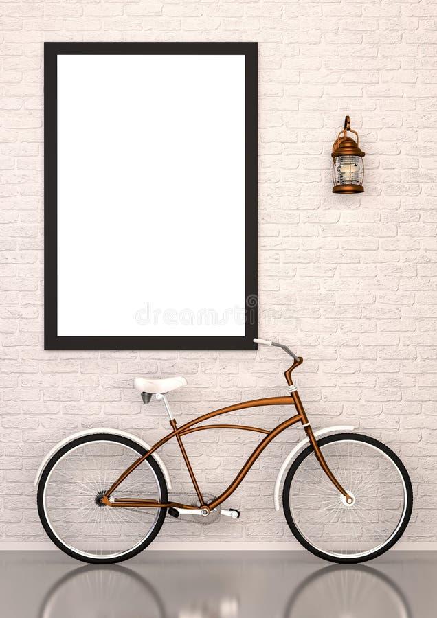Verspotten Sie herauf Plakat mit Fahrrad und kupfernem Lampeninnenraum vektor abbildung