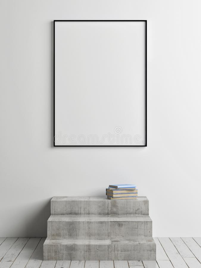 Verspotten Sie herauf Plakat mit konkreter Treppe, Ausstellungsraum, vektor abbildung