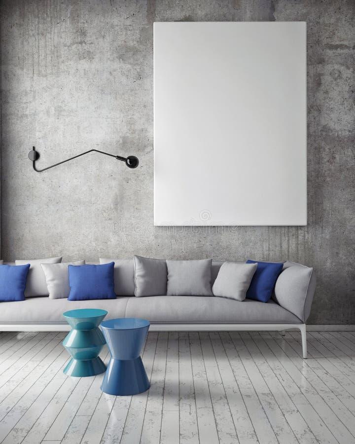 Verspotten Sie herauf Plakat mit Weinlesehippie-Dachbodeninnenhintergrund, lizenzfreie stockbilder