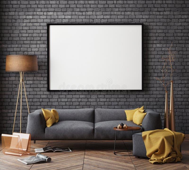 Verspotten Sie herauf Plakat mit Weinlesehippie-Dachbodeninnenhintergrund, lizenzfreie stockfotografie