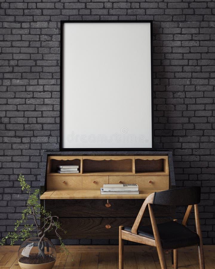 Verspotten Sie herauf Plakat mit Weinlesehippie-Dachbodeninnenhintergrund, lizenzfreie stockfotos