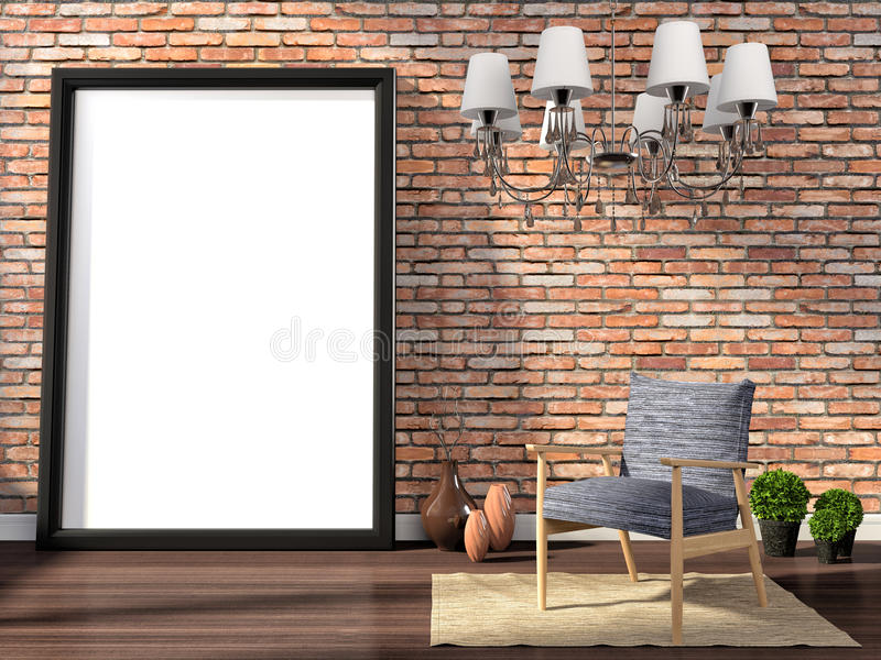 Verspotten Sie herauf Plakat mit Weinlesehippie-Dachbodeninnenhintergrund, 3D lizenzfreie abbildung