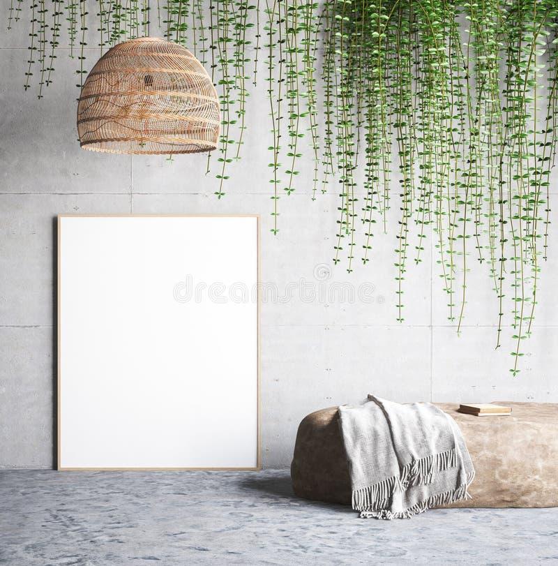 Verspotten Sie herauf Plakat nahe Betonmauer mit Lampe, Efeu auf der Wand und Stein stock abbildung