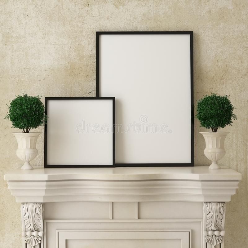 Verspotten Sie herauf Plakatrahmen auf Retro- Kamin, Weinleseinnenhintergrund, stockfoto