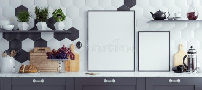 Verspotten Sie herauf Plakatrahmen in der Innen Küche, panoramischer Hintergrund lizenzfreie abbildung