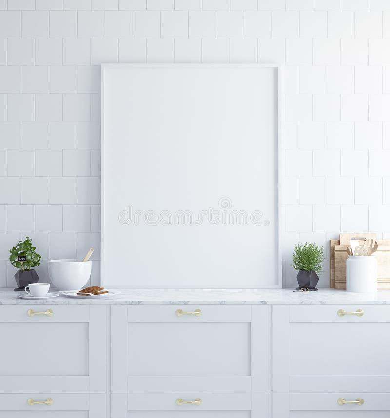 Verspotten Sie herauf Plakatrahmen in der Innen Küche, skandinavische Art stockfotografie