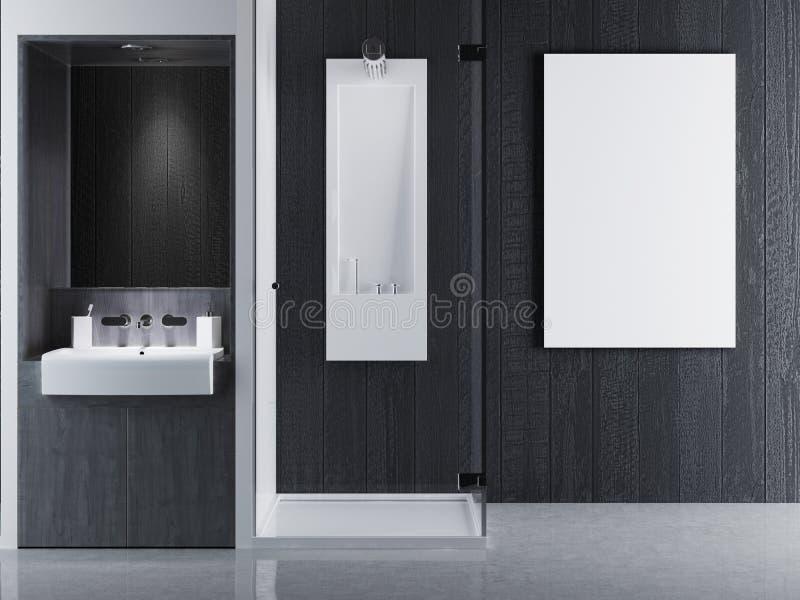 Verspotten Sie herauf Plakatrahmen in der zeitgenössischen Art des Innenbadezimmers B lizenzfreie abbildung