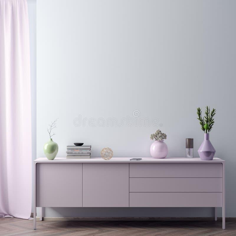Verspotten Sie herauf Plakatrahmen im Hippie-Innenhintergrund in den rosa Farben, skandinavische Art, 3D übertragen, Illustration lizenzfreie stockfotos