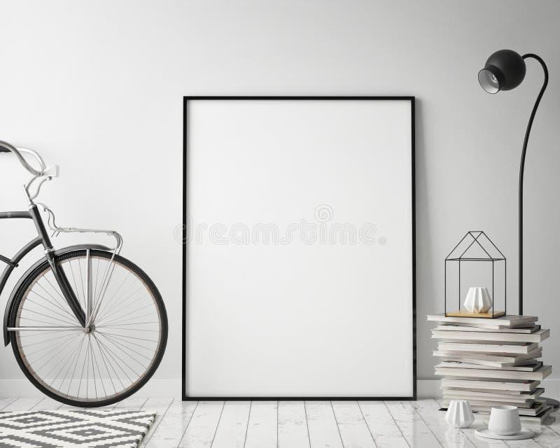 Verspotten Sie herauf Plakatrahmen im Hippie-Innenhintergrund mit Fahrrad, skandinavische Art, 3D übertragen lizenzfreie abbildung
