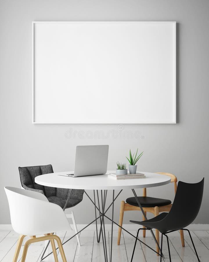 Verspotten Sie herauf Plakatrahmen im Hippie-Innenhintergrund mit hellen Buchstaben, skandinavische Art, 3D übertragen lizenzfreie abbildung