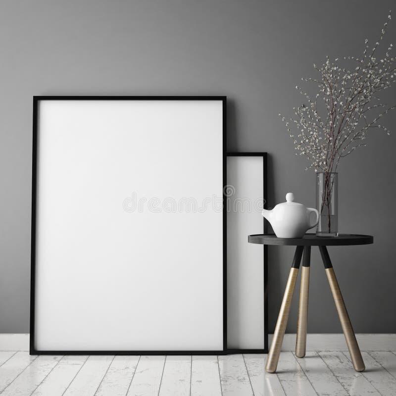 Verspotten Sie herauf Plakatrahmen im Hippie-Innenhintergrund mit hellen Buchstaben, skandinavische Art, 3D übertragen vektor abbildung