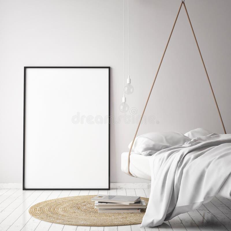 Verspotten Sie herauf Plakatrahmen im Hippie-Innenhintergrund mit hellen Buchstaben, skandinavische Art, 3D übertragen stock abbildung