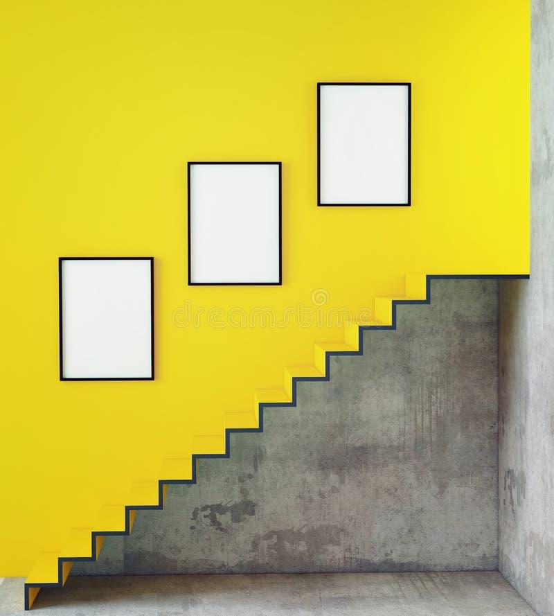 Verspotten Sie herauf Plakatrahmen im Hippie-Innenhintergrund mit Treppe, lizenzfreies stockfoto