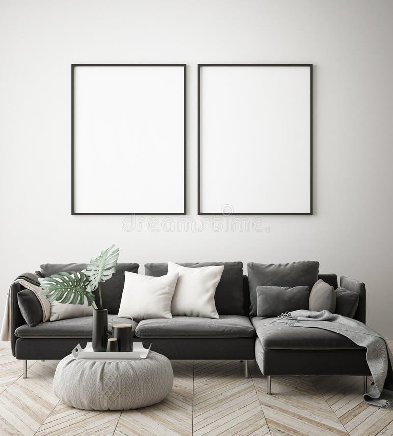 Verspotten Sie herauf Plakatrahmen im Hippie-Innenhintergrund, skandinavische Art, 3D übertragen stock abbildung