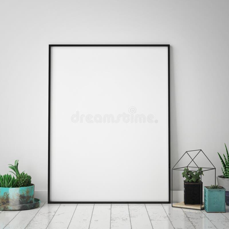 Verspotten Sie herauf Plakatrahmen im Hippie-Innenhintergrund, skandinavische Art, 3D übertragen, stock abbildung
