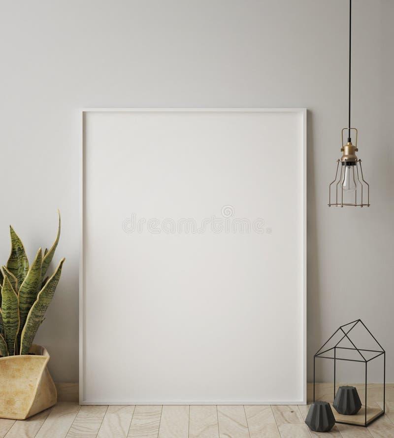 Verspotten Sie herauf Plakatrahmen im Hippie-Innenhintergrund, skandinavische Art, 3D übertragen lizenzfreie abbildung