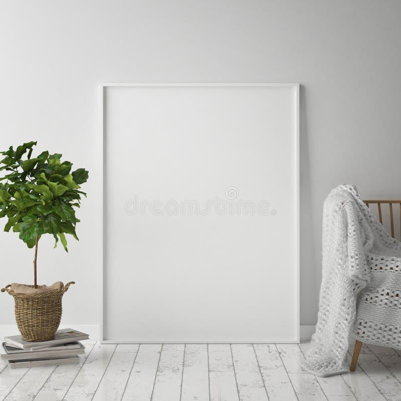 Verspotten Sie herauf Plakatrahmen im Hippie-Innenhintergrund, skandinavische Art, 3D übertragen, vektor abbildung