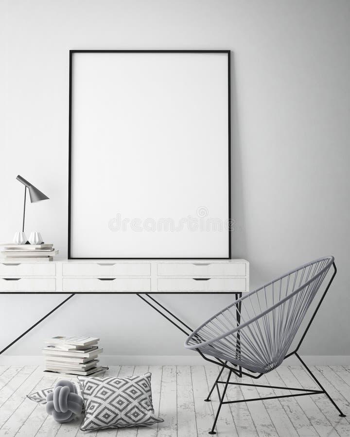 Verspotten Sie herauf Plakatrahmen im Hippie-Innenhintergrund, skandinavische Art, 3D übertragen vektor abbildung