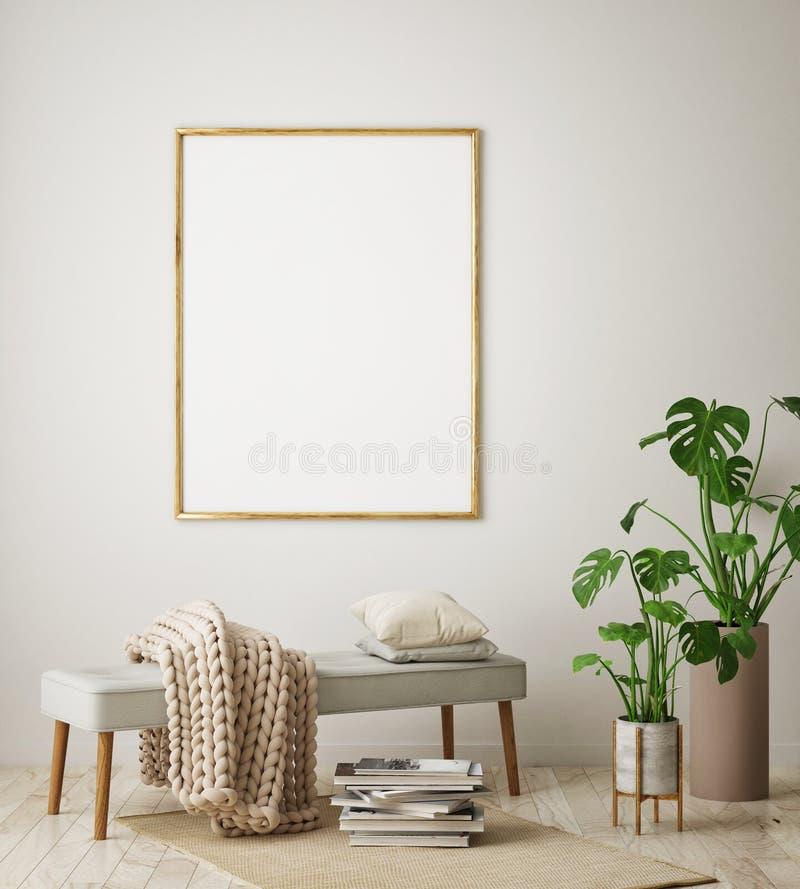 Verspotten Sie herauf Plakatrahmen im Hippie-Innenhintergrund, Wohnzimmer, skandinavische Art, 3D übertragen, Illustration 3D lizenzfreie abbildung