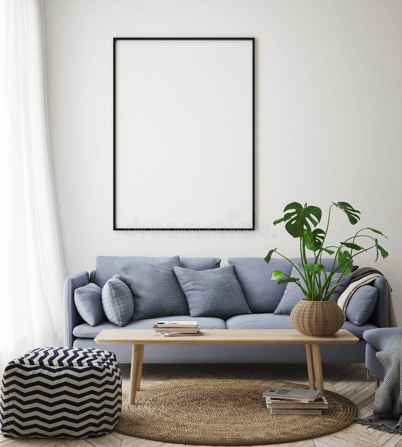 Verspotten Sie herauf Plakatrahmen im Hippie-Innenhintergrund, Wohnzimmer, skandinavische Art, 3D übertragen, Illustration 3D stock abbildung