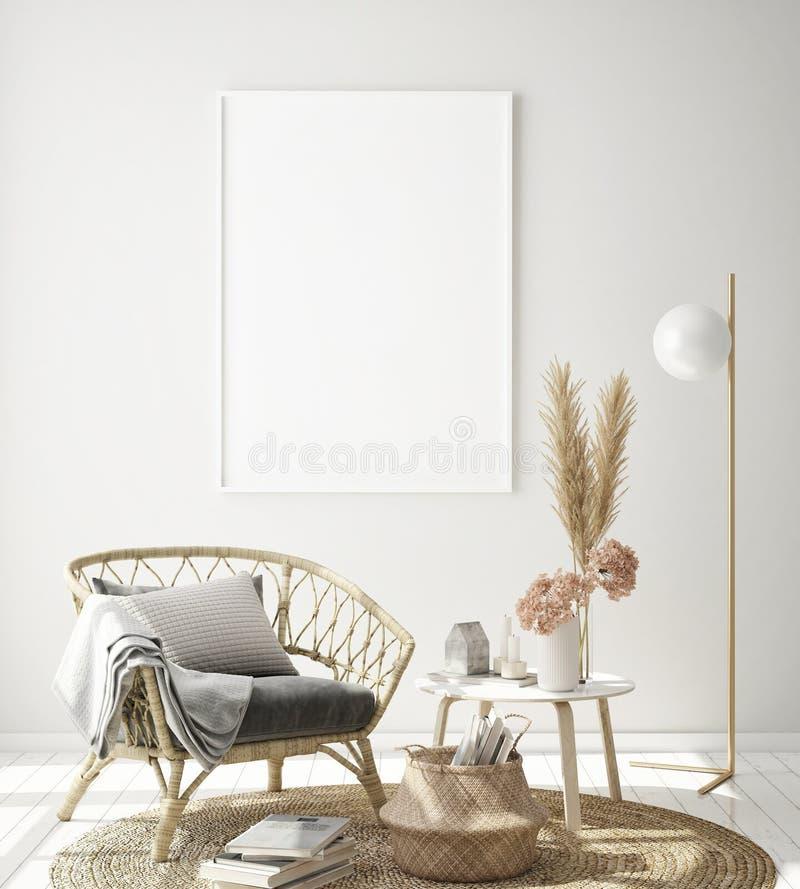 verspotten Sie herauf Plakatrahmen im Hippie-Innenhintergrund, Wohnzimmer, skandinavische Art, 3D übertragen, Illustration 3D vektor abbildung