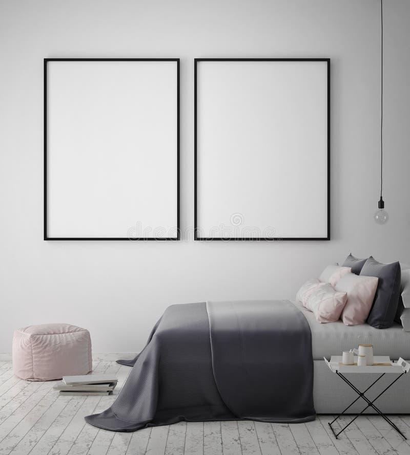 Verspotten Sie herauf Plakatrahmen im Hippie-Schlafzimmerinnenhintergrund, skandinavische Art, 3D übertragen vektor abbildung