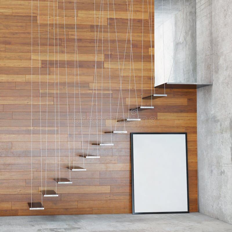 Verspotten Sie herauf Plakatrahmen im Innenhintergrund mit Treppe, stockbild
